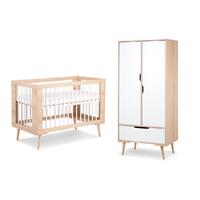 Lit bébé 60x120 et Armoire 2 portes LittleSky by Klups Sofie - Hêtre et Blanc