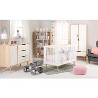Chambre complète lit bébé 60x120 - commode à langer - armoire 2 portes LittleSky by Klups Sofie - Blanc