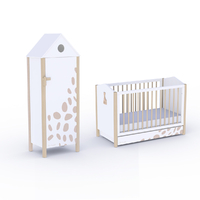 Lit bébé 60x120 et Armoire 1 porte Sophie la Girafe - Blanc