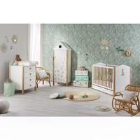 Chambre complète lit bébé 60x120 - commode - armoire Sophie la Girafe - Tiroir de lit et plan à langer offerts - Blanc