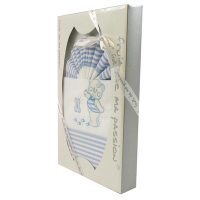 Coffret Parure de draps bleu strié - Motif Empreinte Nounours
