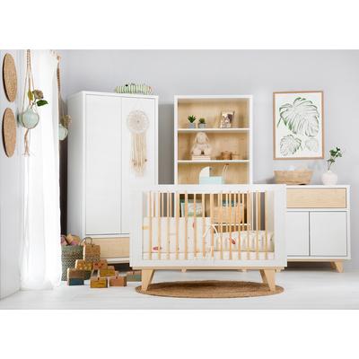 Chambre complète lit évolutif 70x140 - commode - armoire 2 portes LittleSky by Klups Lydia - Blanc