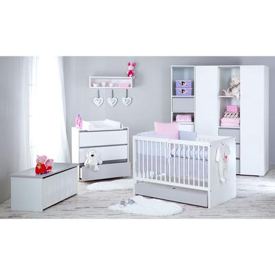Chambre complète lit bébé 60x120 - commode à langer - armoire 3 portes LittleSky by Klups Dalia - Blanc