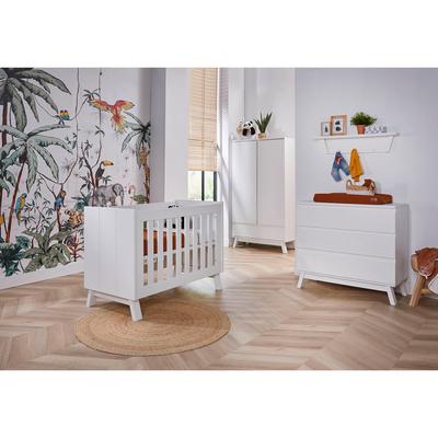 Chambre complète lit bébé 60x120 - commode à langer - armoire 2 portes Twf Happy Island - Blanc