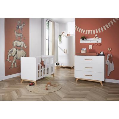Chambre complète lit bébé 60x120 - commode à langer - armoire 2 portes Twf Iglo - Blanc et bois