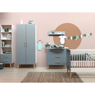Chambre complète lit bébé 60x120, commode à langer et armoire 2 portes Bopita Emma - Blanc et gris