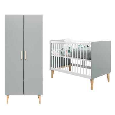 Lit bébé 60x120 et armoire 2 portes Bopita Emma - Blanc et gris