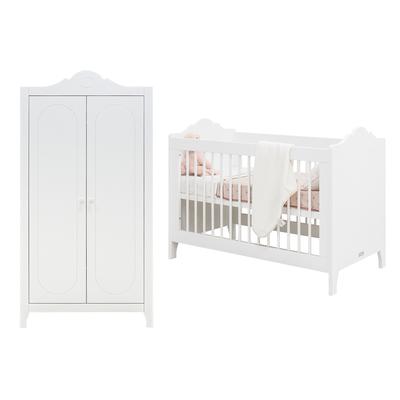 Lit bébé 60x120 et armoire 2 portes Bopita Evi - Blanc