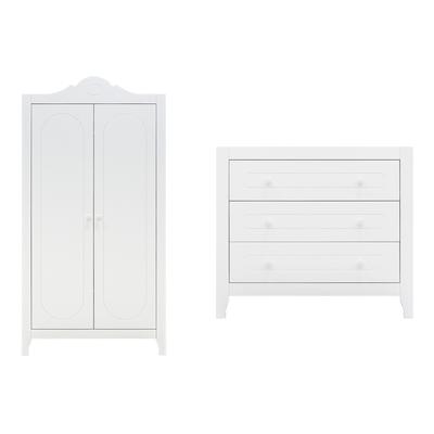 Commode à langer 3 tiroirs et armoire 2 portes Bopita Evi - Blanc