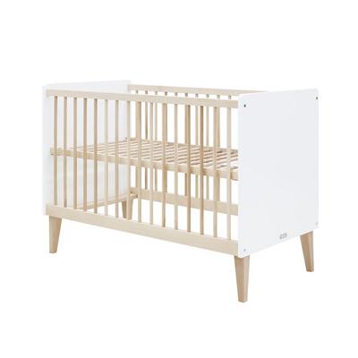 Lit bébé 60x120 Bopita Indy - Blanc et bois naturel
