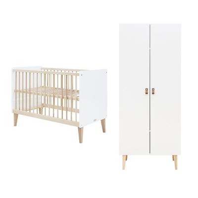 Lit bébé 60x120 et armoire 2 portes Bopita Indy - Blanc et bois naturel