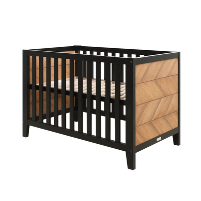 Lit bébé 60x120 Bopita Job - Noir et bois naturel