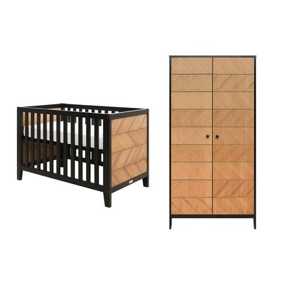 Lit bébé 60x120 et armoire 2 portes Bopita Job - Noir et bois naturel