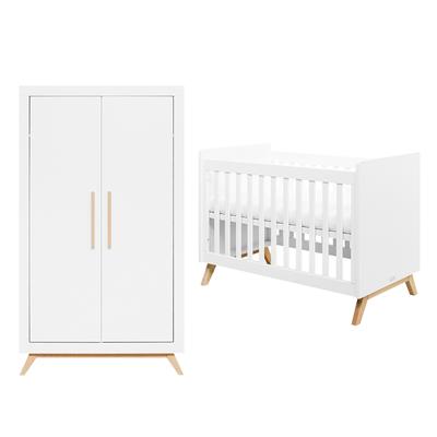 Lit bébé 60x120 et armoire 2 portes Bopita Fenna - Blanc et bois naturel