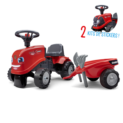 Porteur Falk tracteur Case IH avec remorque - pelle et rateau - Rouge