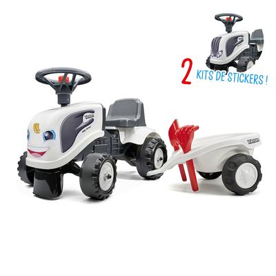 Porteur Falk tracteur Valtra avec remorque - pelle et rateau - Blanc