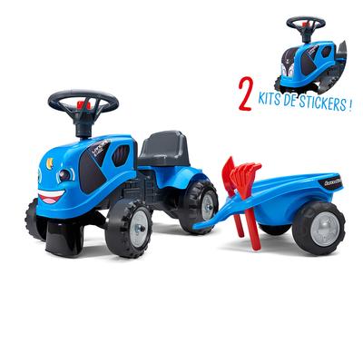 Porteur Falk tracteur Landini avec remorque - pelle et rateau - Bleu