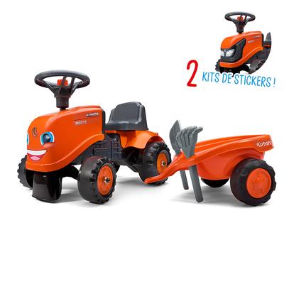 Porteur Falk tracteur Kubota avec remorque - pelle et rateau - Orange
