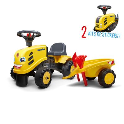 Porteur Falk tracteur Komatsu avec remorque - pelle et rateau - Jaune