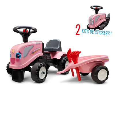 Porteur Falk tracteur Girly New Holland rose avec remorque - pelle et rateau - Rose