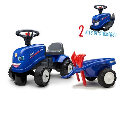 Porteur Falk tracteur Iseki avec remorque - pelle et rateau - Bleu