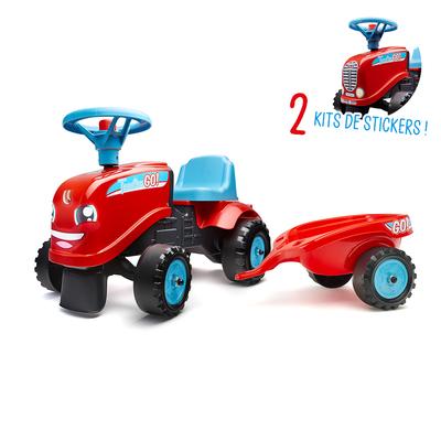 Porteur Falk Tractor Go avec remorque et kit de stickers alternatifs - Rouge