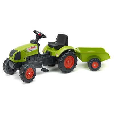 Tracteur à pédales Falk Claas avec remorque - Vert