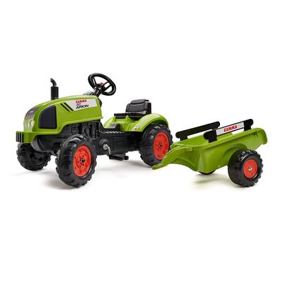 Tracteur à pédales Falk Claas avec remorque et capot ouvrant - Vert