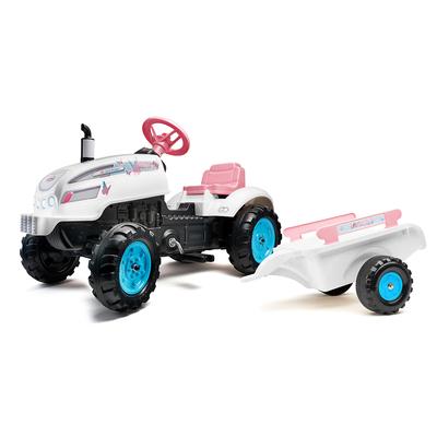 Tracteur à pédales Falk Butterfly Farmer avec capot ouvrant et remorque inclus - Blanc