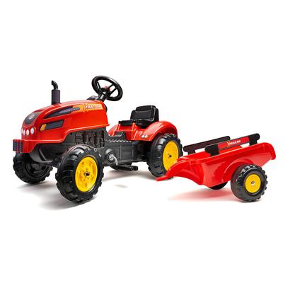Tracteur à pédales Falk X Tractor avec capot ouvrant et remorque inclus - Rouge
