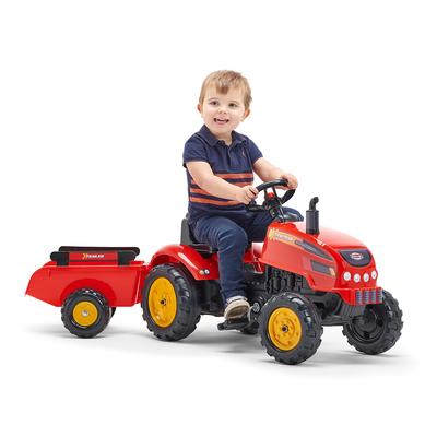 2046AB_falk_tracteur_pedales_tractor_rouge_capot_ouvrant_remorque_3