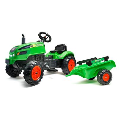 Tracteur à pédales Falk X Tractor avec capot ouvrant et remorque inclus - Vert