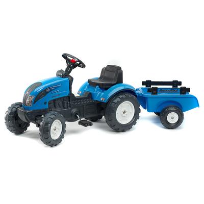 Tracteur à pédales Falk Landini avec remorque - Bleu
