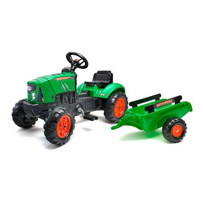 Tracteur à pédales Falk Supercharger avec capot ouvrant et remorque - Vert