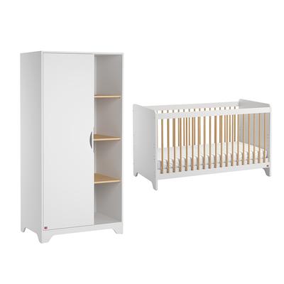 Lit bébé 60x120 et Armoire 1 porte Vox Leaf - Blanc et bois