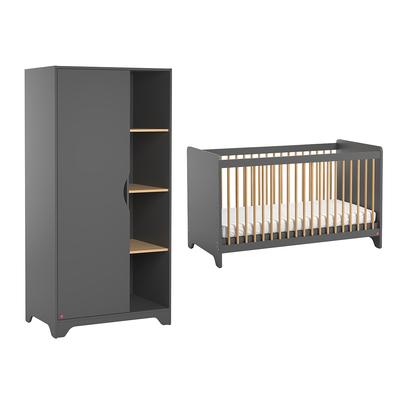 Lit bébé 60x120 et Armoire 1 porte Vox Leaf - Gris et bois