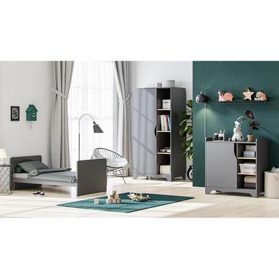 Chambre complète lit évolutif 70x140 - commode à langer - armoire 1 porte Vox Leaf - Gris et bois