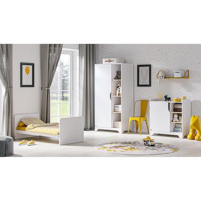 Chambre complète lit évolutif 70x140 - commode à langer - armoire 1 porte Vox Leaf - Blanc et bois