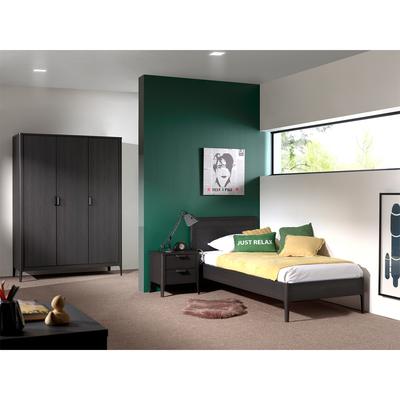 Lit 90x200 - Armoire 3 portes et Chevet 2 tiroirs Vipack Azalea - Marron foncé