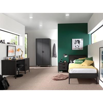Lit 90x200 - Armoire 2 portes - Chevet 2 tiroirs et Bureau Vipack Azalea - Marron foncé