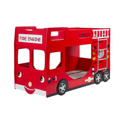 Lit superposé 90x200 Camion de pompier sommier inclus Vipack Car Beds - Rouge