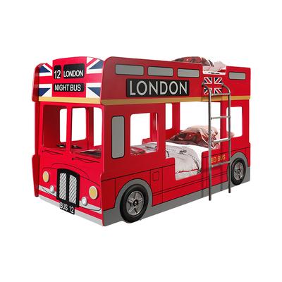 Lit superposé 90x200 Bus Londonien sommier inclus Vipack Car Beds - Rouge