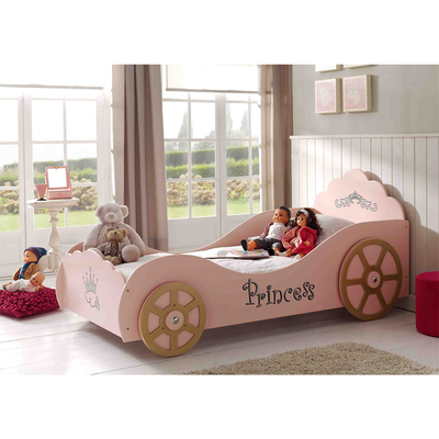 Lit 90x200 Princesse Pinky Sommier inclus Vipack Car beds - Rose