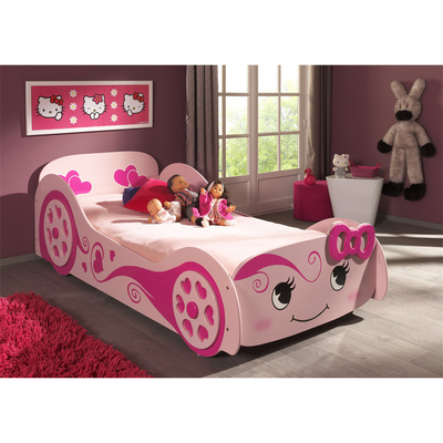 Lit 90x200 Love Sommier inclus Vipack Car beds - Rose