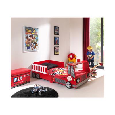 Lit 90x200 Camion pompier Sommier inclus Vipack Car beds - Rouge