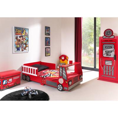 Lit 90x200 Camion pompier sommier inclus et Armoire 1 porte pompe à essence Vipack Car Beds - Rouge