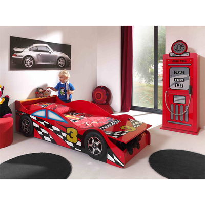 Lit 90x200 Race sommier inclus et Armoire 1 porte pompe à essence Vipack Car Beds - Rouge