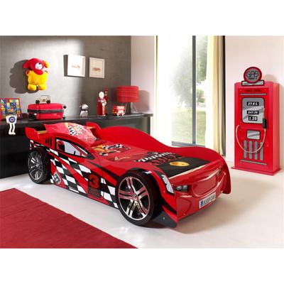 Lit 90x200 Night Speeder sommier inclus et Armoire 1 porte pompe à essence Vipack Car Beds - Rouge