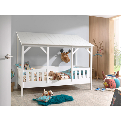 Lit Cabane 90x200 Sommier inclus Vipack HouseBed - Blanc