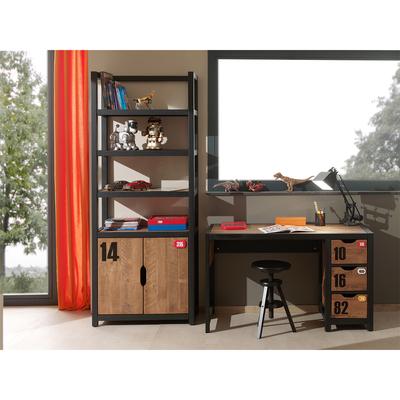 Bureau 3 tiroirs et Bibliothèque Vipack Alex - Noir et Bois